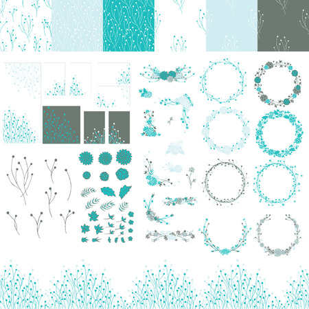 Set of elements for design hand painted. Frames, textures, borders, backgrounds, elements in the blue and blue green colors.