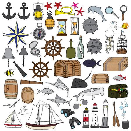 mine lamp: set of miniatures symbolize sea adventures