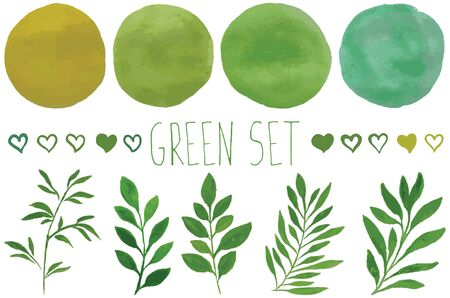 green nature: set of elements for design watercolor