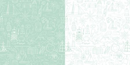 seamless pattern with objects symbolizing the sea voyage Vector