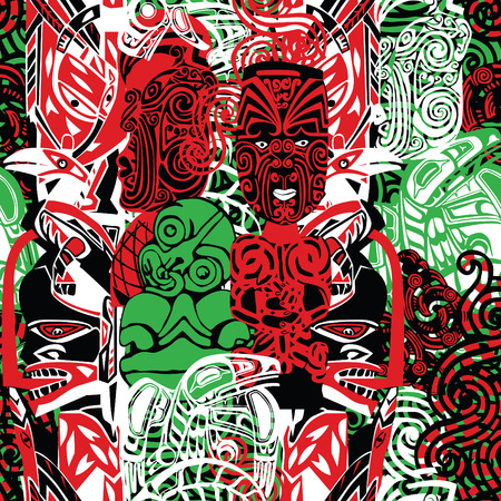 pattern with the style of Maori