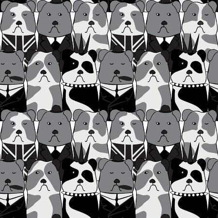 seamless pattern with the English Bulldog Ilustração