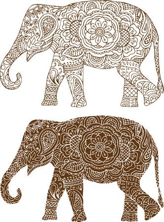 siluetas de elefantes: silueta de un elefante en los patrones mehendi indios