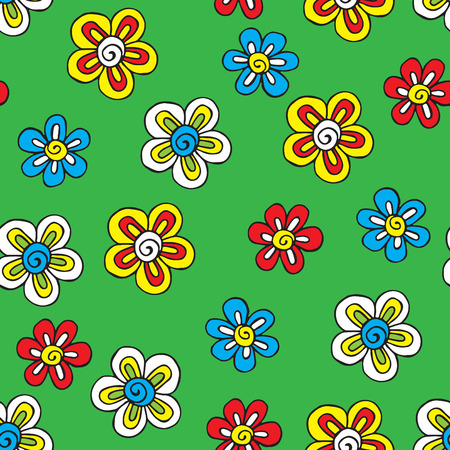 childrens: bright seamless background with handpainted daisies Illustration