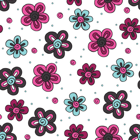 Seamless pattern with hand painted flowers