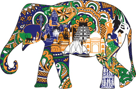 vector ornaments: elephant with Indian symbols
