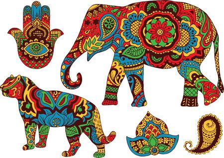 Elefant Tiger Hintern und Lotus im Stil mehendi handbemalt Illustration