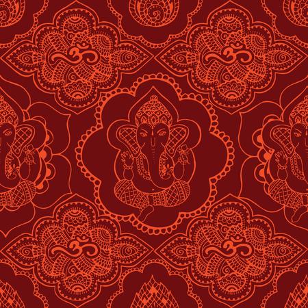 Nahtloses Muster mit indischen Safran-farbigen Mustern. Hand gezeichnet und Ganesh Om Zeichen im Stil mihendi. Illustration