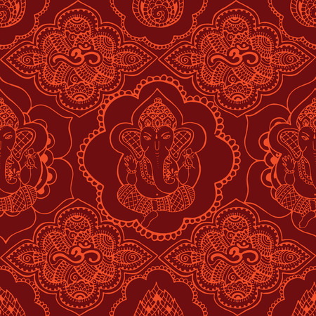 Seamless pattern with Indian saffron-colored patterns. Hand drawn Ganesh and Om sign in the style mihendi. Vettoriali