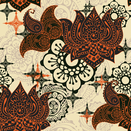 abstractly: Seamless pattern with ornaments in the style of Indian mehendi. Lotus and Butt on a light background.