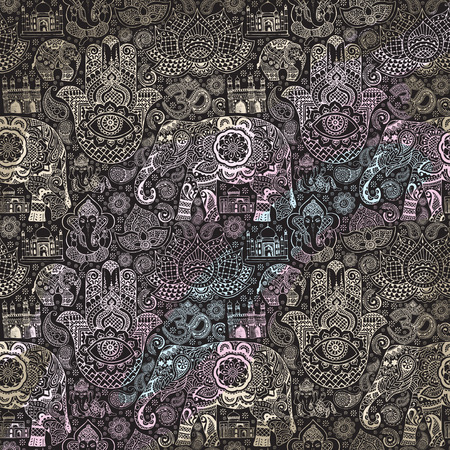 ohm: Seamless pattern with Indian miniatures