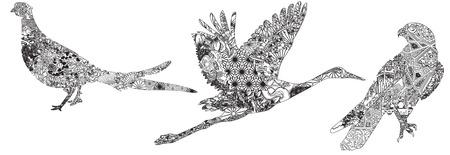 pheasant: crane, falcon, pheasant Asian patterns