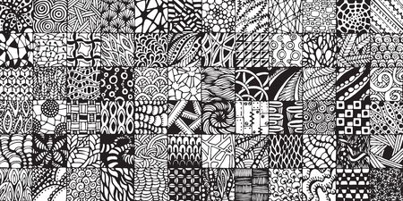 florid: texture with black and white squares painted in the style of zentangl Illustration