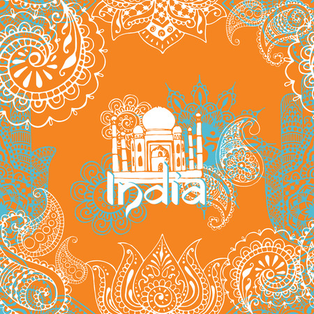indian culture: Seamless background with ornaments in the style of Indian mehendi. Can be used as a frame or as a seamless pattern.