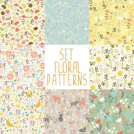 8 のシームレス パターンの手で描かれた花  イラスト・ベクター素材