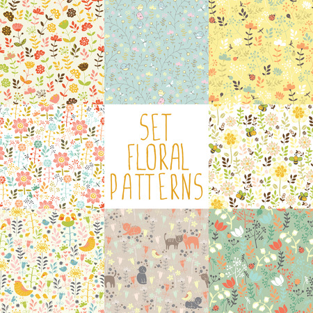 8 seamless patterns with hand painted flowers 版權商用圖片 - 44181162