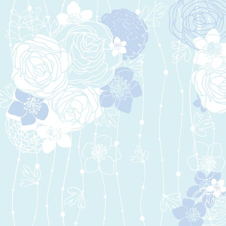 buttercup  decorative: blue background with a hand painted with stylized flowers