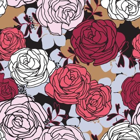 seamless pattern: Seamless pattern with flowers