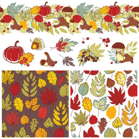 september 1: autumn patterns and elements Illustration