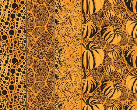 yellow orange: 4 seamless pattern for Halloween