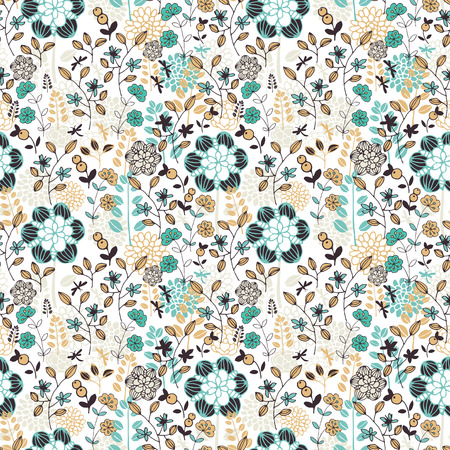 twigs: Seamless floral pattern with flowers and berries Illustration