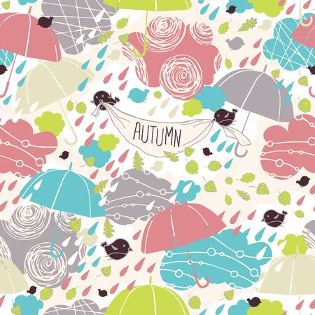 rain weather: Merry Autumn seamless pattern with umbrellas and clouds.