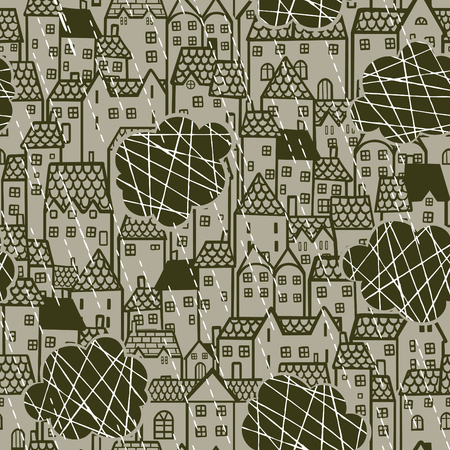 windy city: Seamless retro pattern with houses and clouds