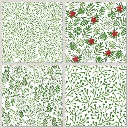 green texture: seamless floral patterns Illustration