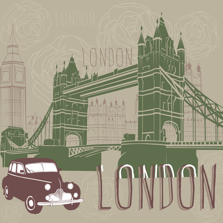jorney: Taxi and architecture of London. Illustration