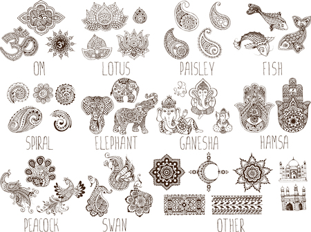peacock pattern: mehndi symbols on a white background Illustration