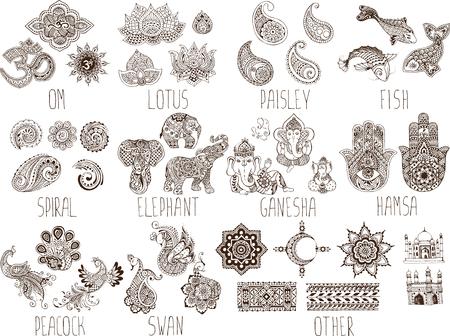 ganesh: símbolos mehndi sobre un fondo blanco Vectores