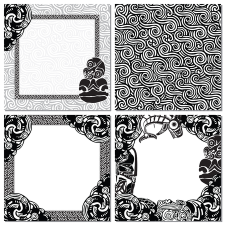 seamless texture, and three picture frames in the style of the Maori Illustration