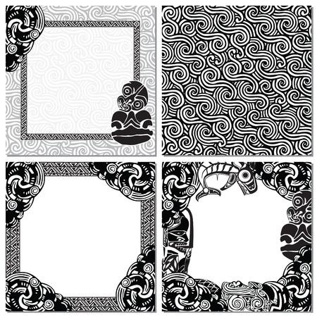 aborigen: textura perfecta, y tres marcos de cuadros en el estilo de los maoríes Vectores