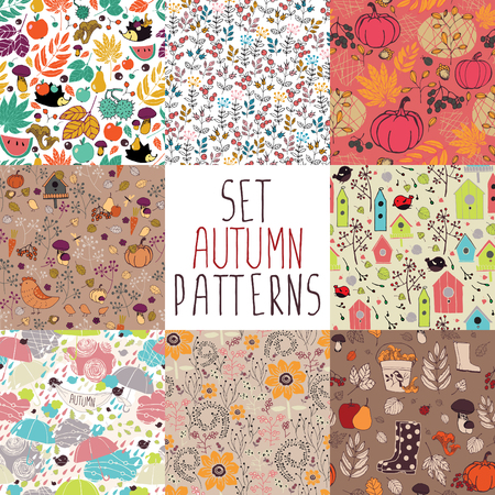 fun background: set of seamless autumn pattern with nature