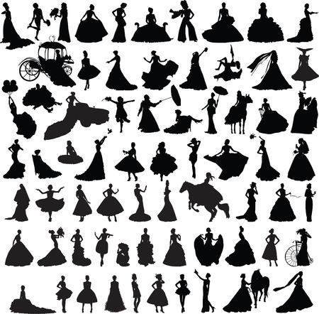 set van silhouetten van meisjes met trouwjurken in verschillende poses Stock Illustratie