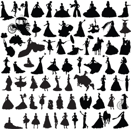 set of silhouettes of girls with wedding dresses in different poses Illustration