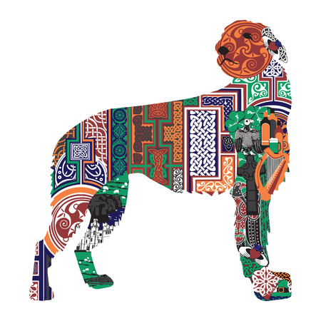 irish ethnicity: Irish wolfhound silhouette with Celtic patterns