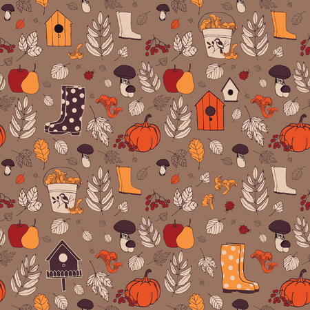 starling: The autumn nature. Background with leaves, harvest and boots.