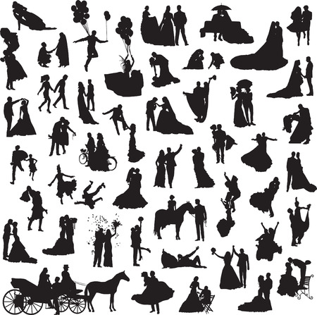 marrying: set of silhouettes of wedding couples in different situations