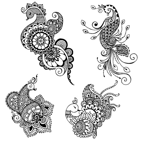 set hand painted peacock style mehndi