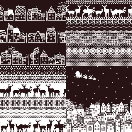 lapland: Four seamless pattern winter theme
