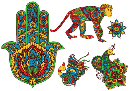 mehendi: isolated birds, monkey, and hamsa in the style of hand-painted mehendi