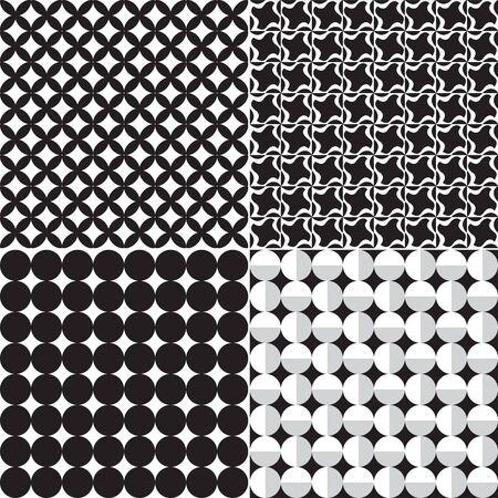 geometrical pattern: Four seamless monochrome geometrical pattern Illustration