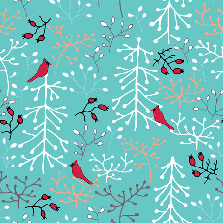 christmassy: Hand drawn seamless pattern. Trees, birds and berries. Winter forest. Illustration
