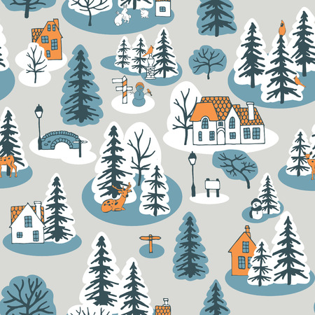 wintry: seamless pattern with pine trees and houses