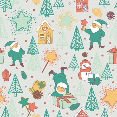 Seamless pattern with festive elves and Christmas trees. Vettoriali