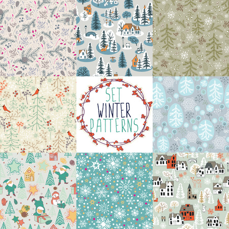 santas village: 8 different winter seamless patterns