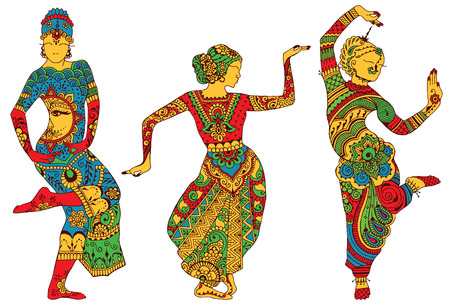 Three silhouettes of dancing women painted in the style of mehendi Vettoriali