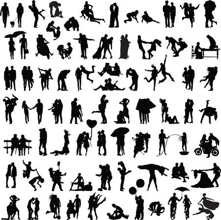 silueta humana: conjunto de siluetas de las parejas en varias poses y situaciones