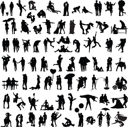 set of silhouettes of couples in various poses and situations Illustration